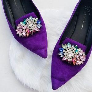 Guiseppe Zanotti Purple Velvet Crystal Bit Loafer